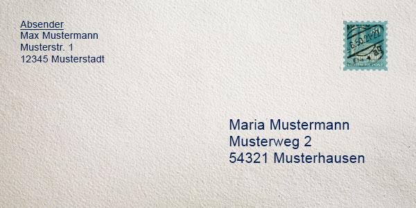 Management und Logistik: Briefumschlag beschriften vorlage